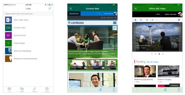 Приложението SharePoint дава лесен достъп до корпоративни документи, разположение в облака или на сървъри на компанията