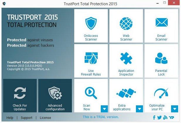 Trustport Antivirus се отличава с модерен интерфейс и ефективна работа
