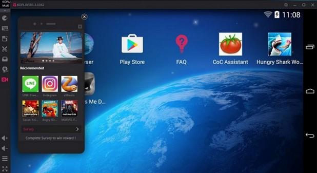 Интерфейсът на KOPLAYER е като този на широко разпространените Android смартфони