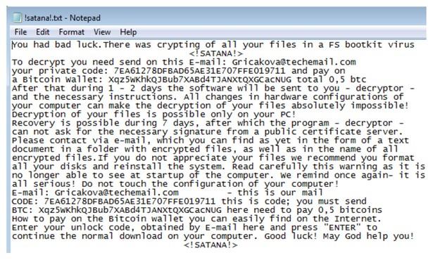 Satana кодира файловете в компютъра, както и главния зареждащ запис, след което иска откуп от жертвите, за да възстанови достъпа им
