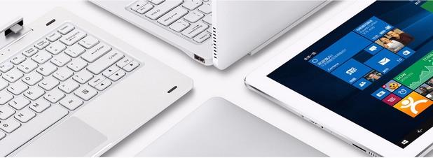 Към таблета лесно се прикача клавиатура, която го превръща в удобен за работа ноутбук