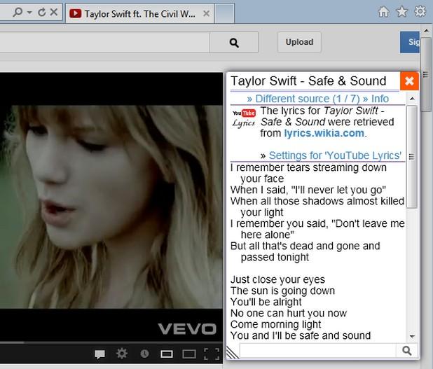 Lyrics Here открива текстовете на песни измежду много източници и ги показва на екрана при използване на YouTube и други развлекателни портали