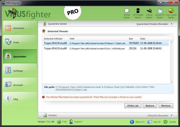 VIRUSfighter защитава от вируси в реално време, изчиства компютъра и изпълнява сканиране по заявка