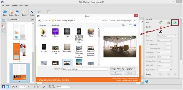 Able2Extract Professional 11 позволява вмъкване на изображения, векторни графики и текст в PDF документа чрез удобен страничен панел