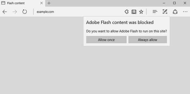 Потребителят на Edge ще има избор да разреши Flash за постоянно ползване или еднократно