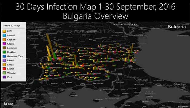 Българските градове с най-голям ръст на кибер атаките очаквано са София, Варна и Пловдив (източник: Microsoft)