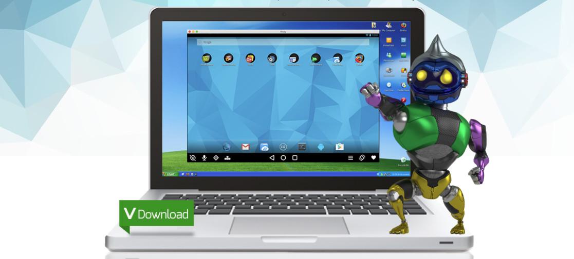Главният прозорец на Andy емулира началния екран на Android устройство