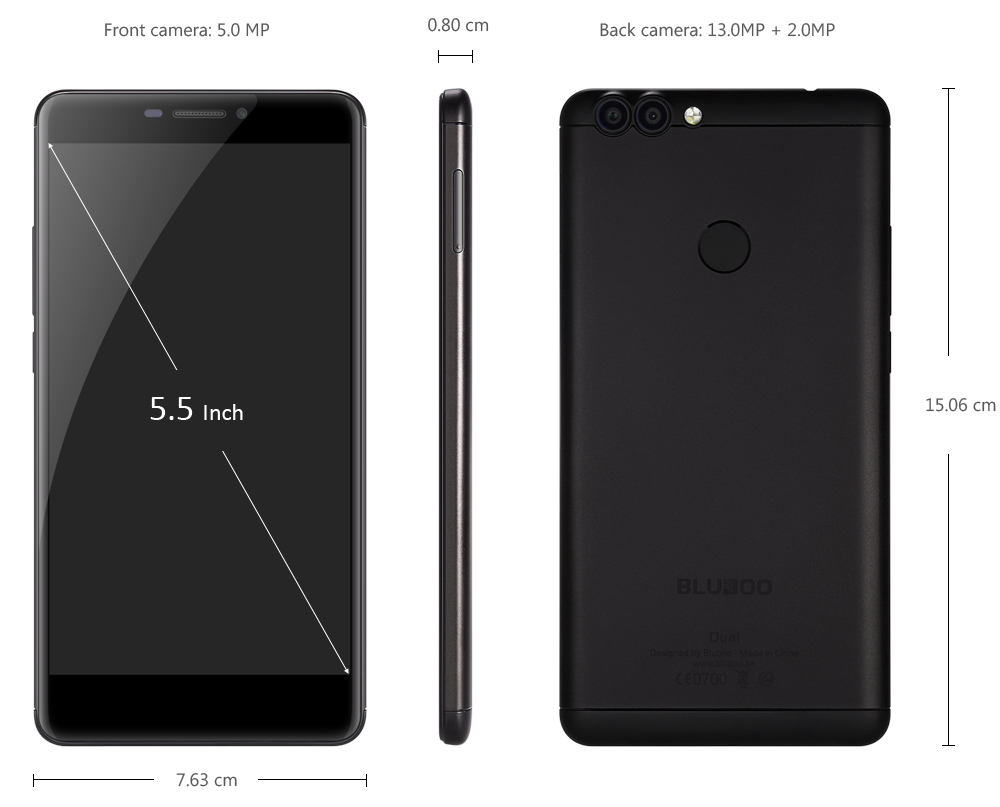 Bluboo Dual 4G Phablet има размери 15,06x7,63x0,80 см и тежи 163 грама