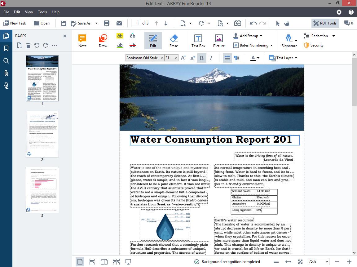 FineReader 14 включва функции, необходими за работа с всеки хартиен документ и PDF файл, сканиран или цифрово създаден