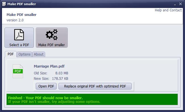 Make PDF smaller оптимизира PDF файловете, като променя редица параметри