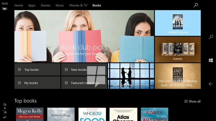 Онлайн магазинът за книги вече е достъпен в предварителна версия на Windows 10 под номер Build 15014